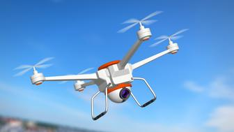 Quadrocopter with the camera, 3d illustration