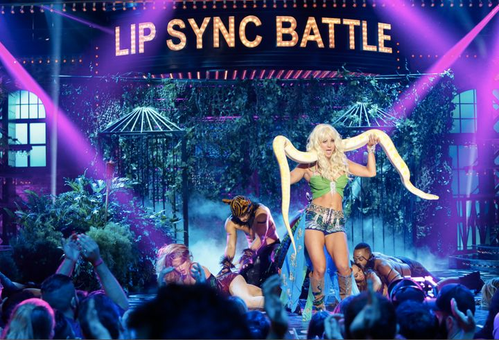 "Kaley Cuoco performs ""I'm A Slave 4 U"" on Spike's ""Lip Sync Battle"" on Thursday, Jan. 28, 2016."