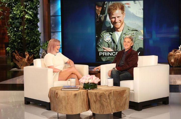 """Hilary Duff pictured with her celebrity crush, Prince Harry, on Friday's taping of """"The Ellen DeGeneres Show."""""""