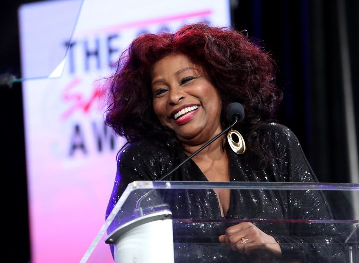 Singer Chaka Khan speaks on stage at the She Rocks Awards during the 2016 NAMM Show in Anaheim, California.