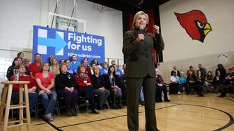 NEWTON, IA - JANUARY 28:  Democratic presidential candidate, former Secretary of State Hillary Clinton speaks during a 'get out the caucus' event at Berg Middle School on January 28, 2016 in Newton, Iowa.  With less than a week to go before the Iowa caucuses, Hillary Clinton is campaigning throughout Iowa.  (Photo by Justin Sullivan/Getty Images)