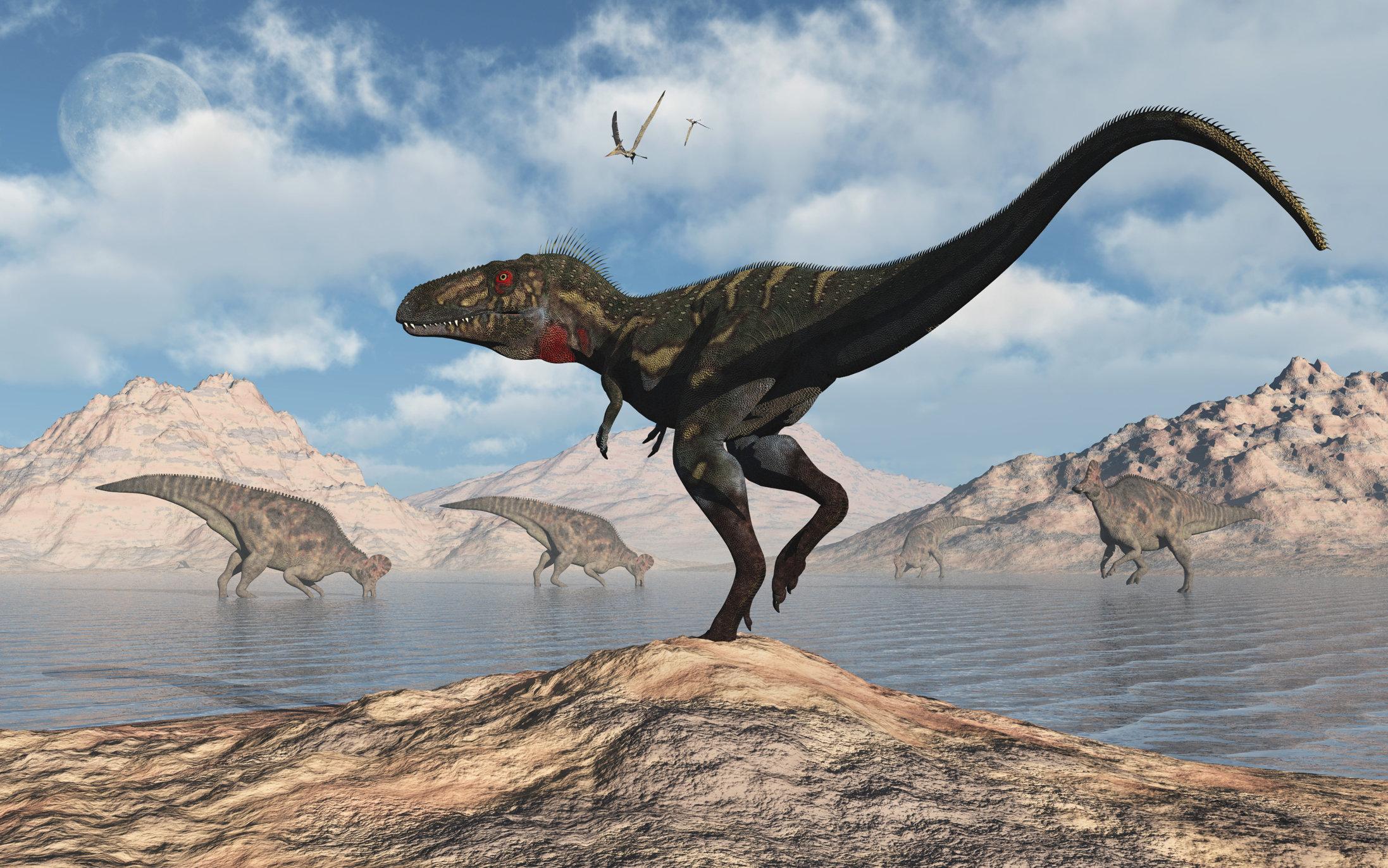 An illustration of aNanotyrannus stalking a herd of Corythosaurus dinosaurs.
