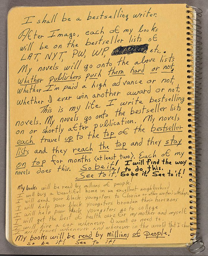 Photo of notebook from Octavia E. Butler's collection, 1988.