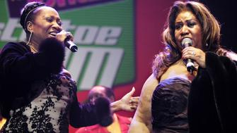 Patti LaBelle and Aretha Franklin during Tom Joyner's 'Mistletoe Jam' Comes to Detroit - December 10, 2005 at Joe Louis Arena in Detroit, MI, United States. (Photo by Paul Warner/WireImage)