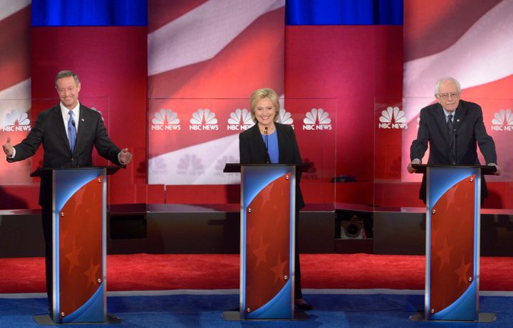 Martin O'Malley, Hillary Clinton and Bernie Sanders appear during the NBC Democratic debate in South Carolina on Ja
