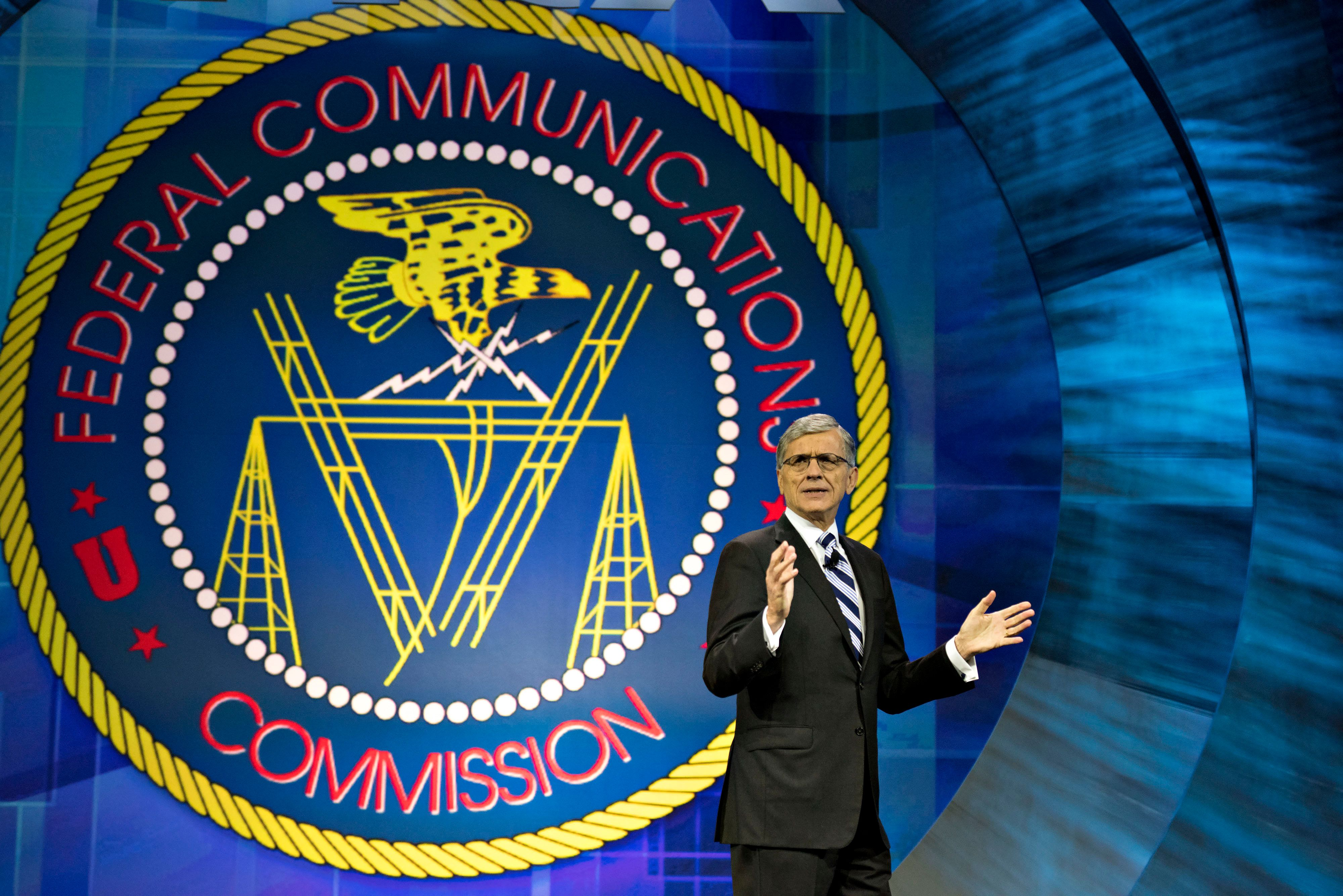 Thomas 'Tom' Wheeler, chairman of the U.S. Federal Communications Commission (FCC), speaks at INTX: The Internet & Television Expo in Chicago, Illinois, U.S., on Wednesday, May 6, 2015. The event, formerly known as The Cable Show, has been the reimagined for doing business in the digital economy by the National Cable and Telecommunications Association (NCTA). Photographer: Daniel Acker/Bloomberg via Getty Images