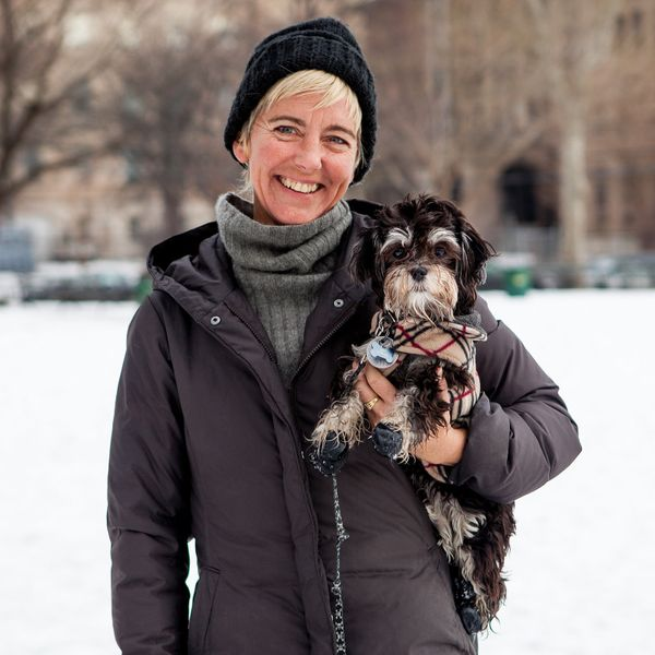 "<strong>Susan + Lucy (Williamsburg, BK) </strong><br>""She loves the snow, she won't walk on the sidewalk.&nbsp; She likes to"
