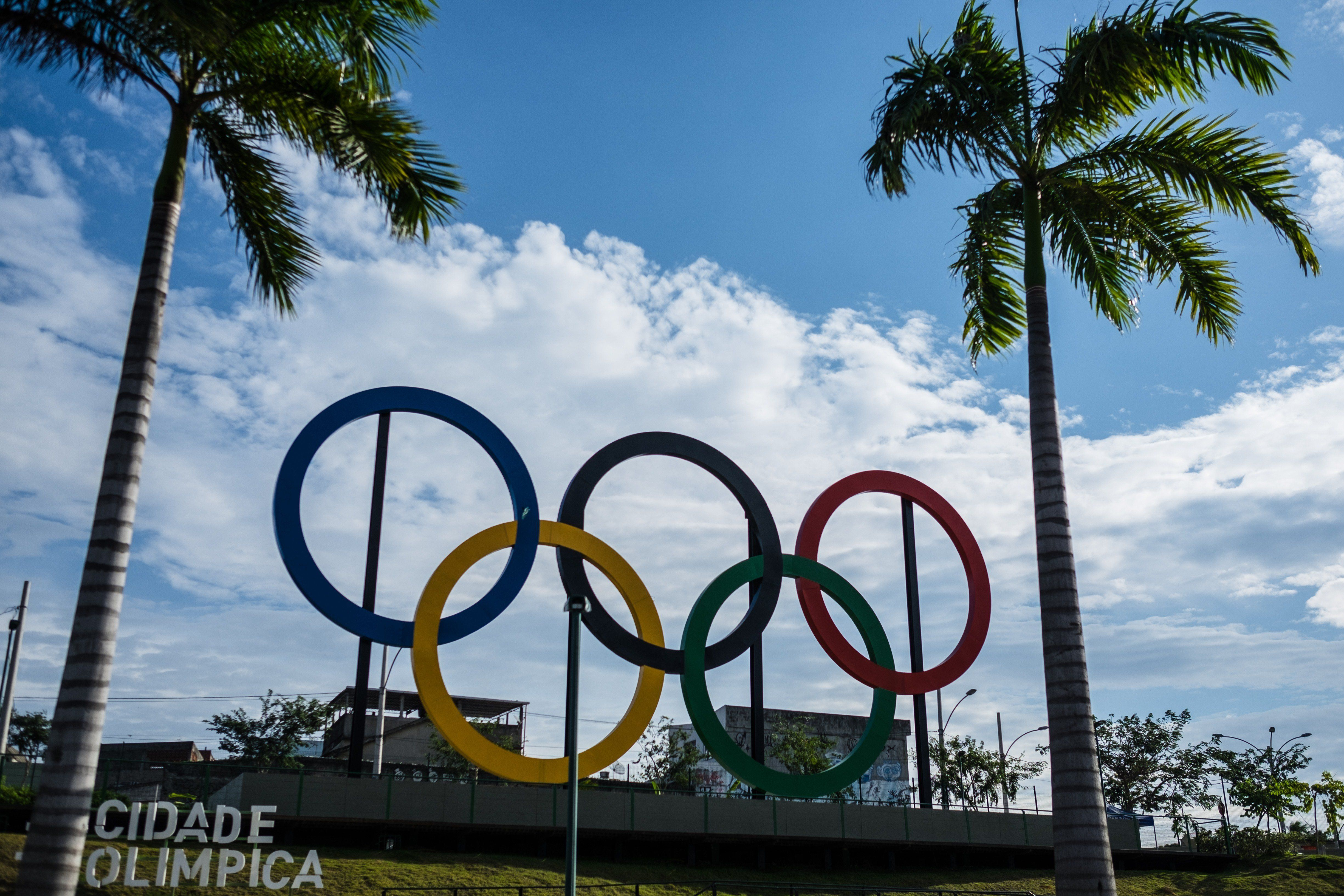 The Olympic rings in Madureira Park, the third largest park in Rio de Janeiro, Brazil, on July 1, 2015 -- 400 days ahead of t