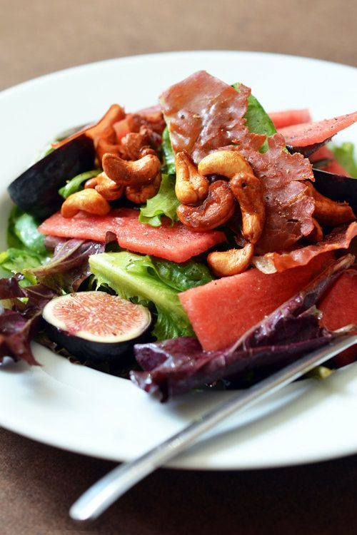 "<strong>Get the <a href=""http://nomnompaleo.com/post/60660034876/fig-watermelon-salad-with-honey-vanilla-cashews"" target=""_bl"