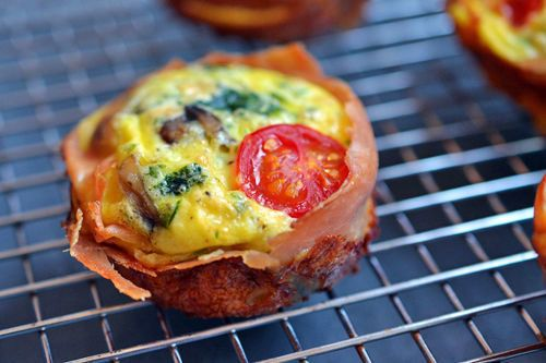 "<strong>Get the <a href=""http://nomnompaleo.com/post/7486819479/prosciutto-wrapped-mini-frittata-muffins"" target=""_blank"">Pro"