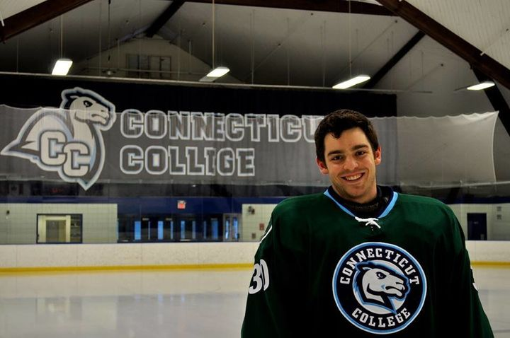 Tom Conlin, a senior on the Connecticut College hockey team, says he fully supports Green Dot, a program that can help preven