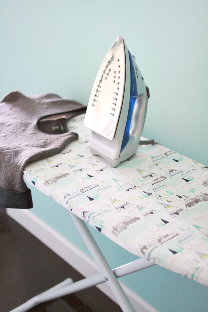 """Visit <a href=""""http://www.abeautifulmess.com/2014/01/ironing-board-cover-diy.html"""" target=""""_blank"""">A Beautiful Mess</a> to le"""