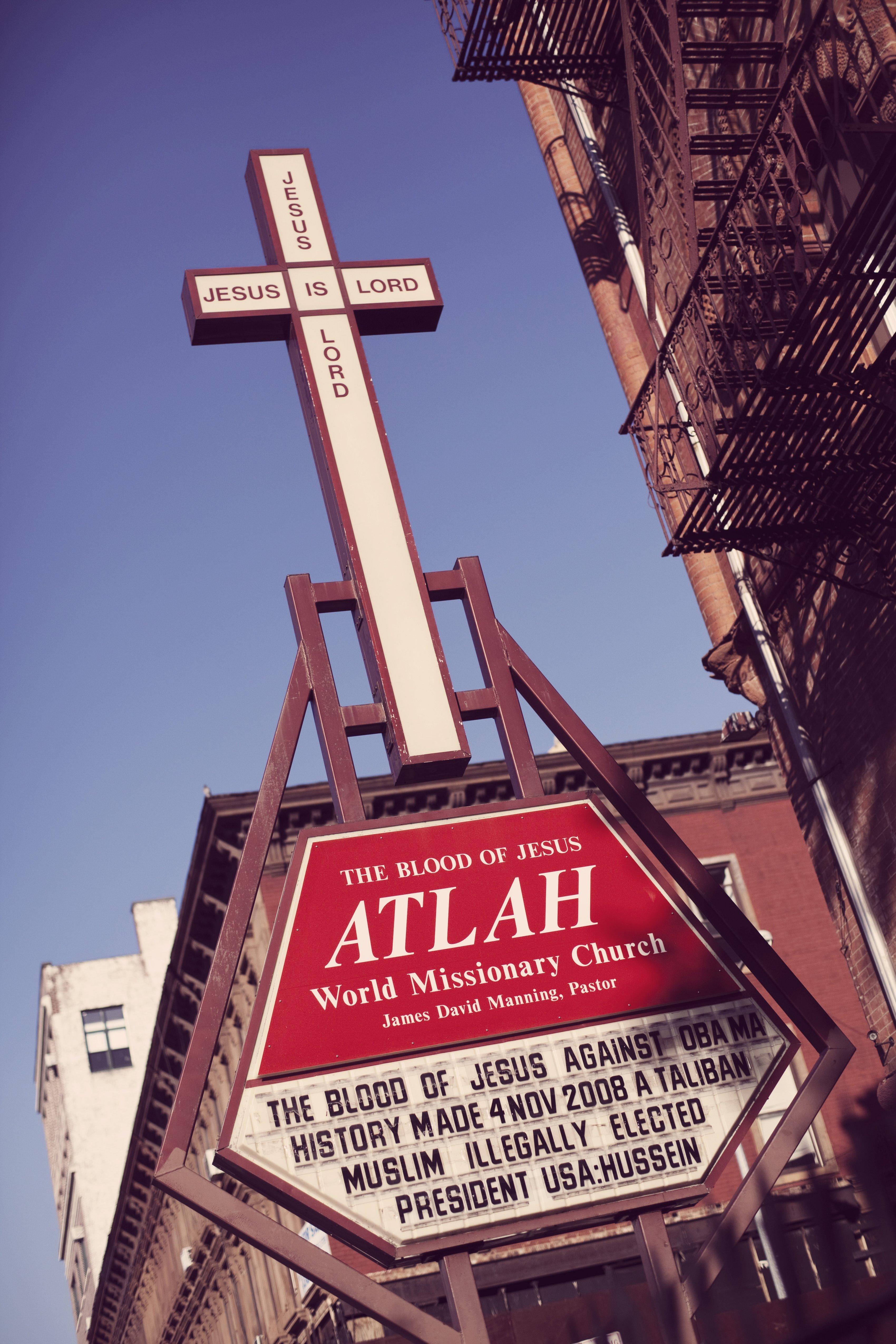 The ATLAH World Missionary Church in New York's Harlem neighborhood.
