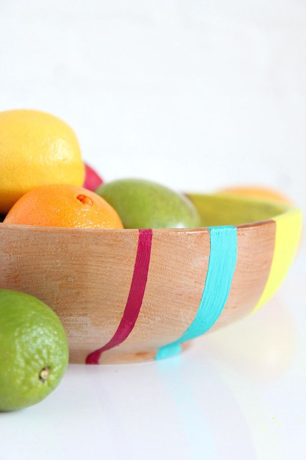 """Head to <a href=""""http://ispydiy.com/2015/01/16/home-diy-colorblock-fruit-bowl/"""" target=""""_blank"""">I Spy DIY</a> to get started."""