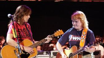 The Indigo Girls performing at the 17th Annual Bridge School Benefit. Event held at Shoreline Amphitheater.