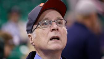 Portland Trail Blazers owner Paul Allen looks on before the start of the first quarter of an NBA preseason basketball game against the Utah Jazz, Monday, Oct. 12, 2015, in Salt Lake City. (AP Photo/Rick Bowmer)