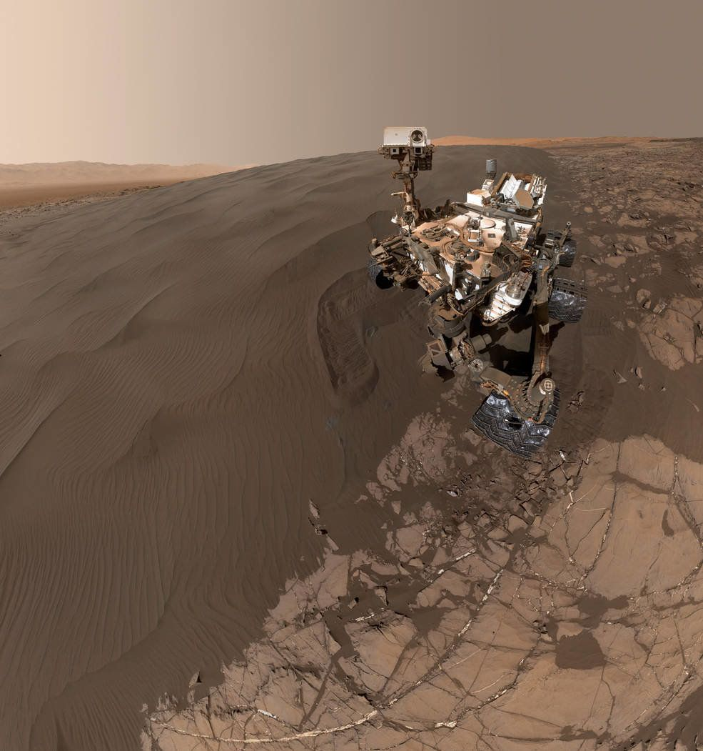 NASA's Curiosity Mars rover snapped the selfie at the Namib Dune, where it was scooping samples of sand for lab analysis.
