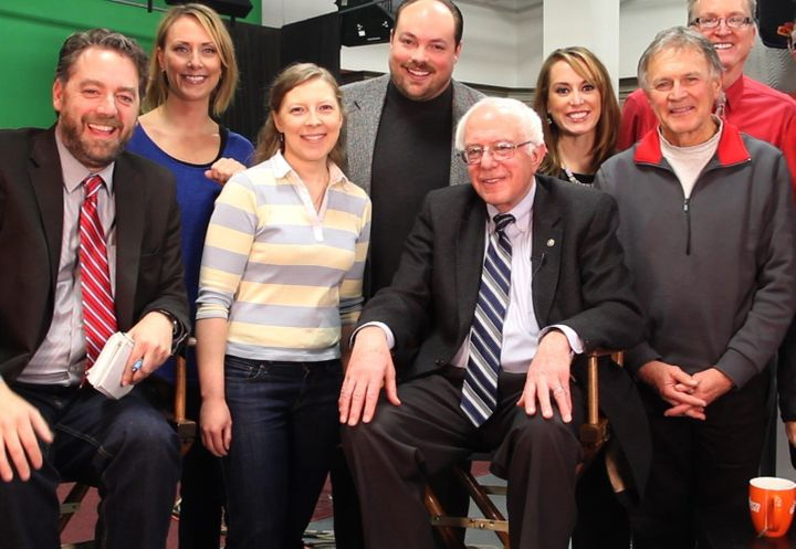 Brent Roske, with his Iowa TV team and Sen. Bernie Sanders (I-Vt.), has had hands-on experience in his show, s