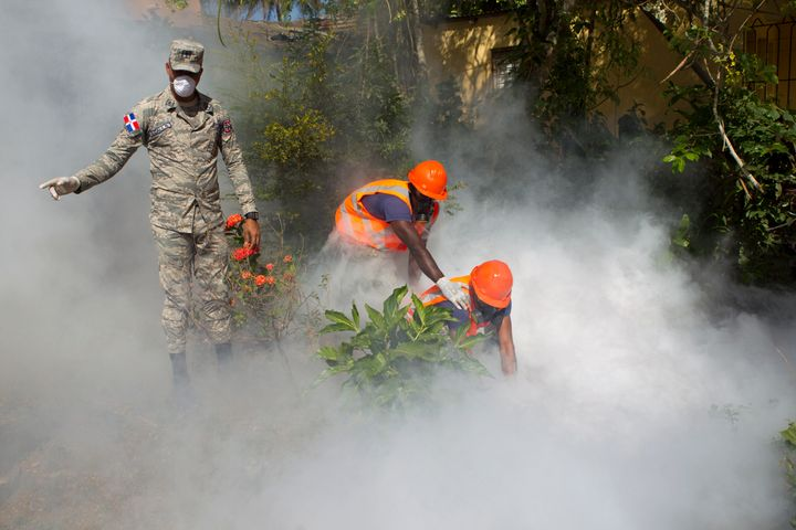 The virus has spread to 23 countries and territories in the Americas. Here the Dominican Air Force fumigates parts