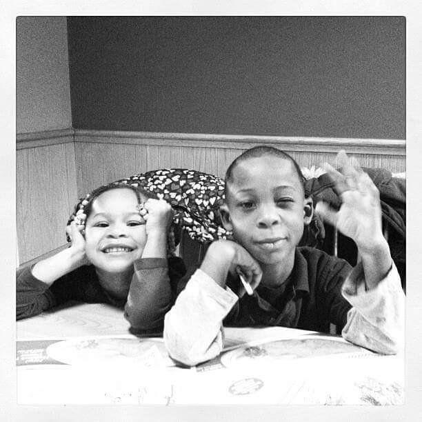 Harrell's children, Jeriyah and Jeremiah.