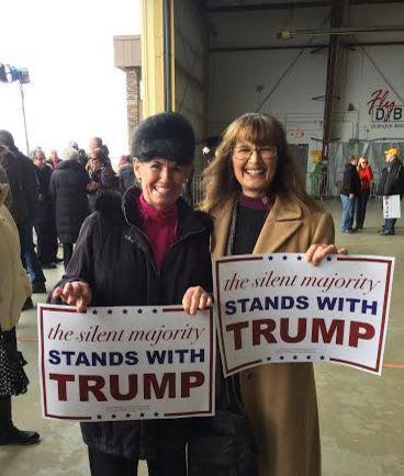 Rebecca Thoeni, right, at a rally for Donald Trump in Dubuque, Iowa