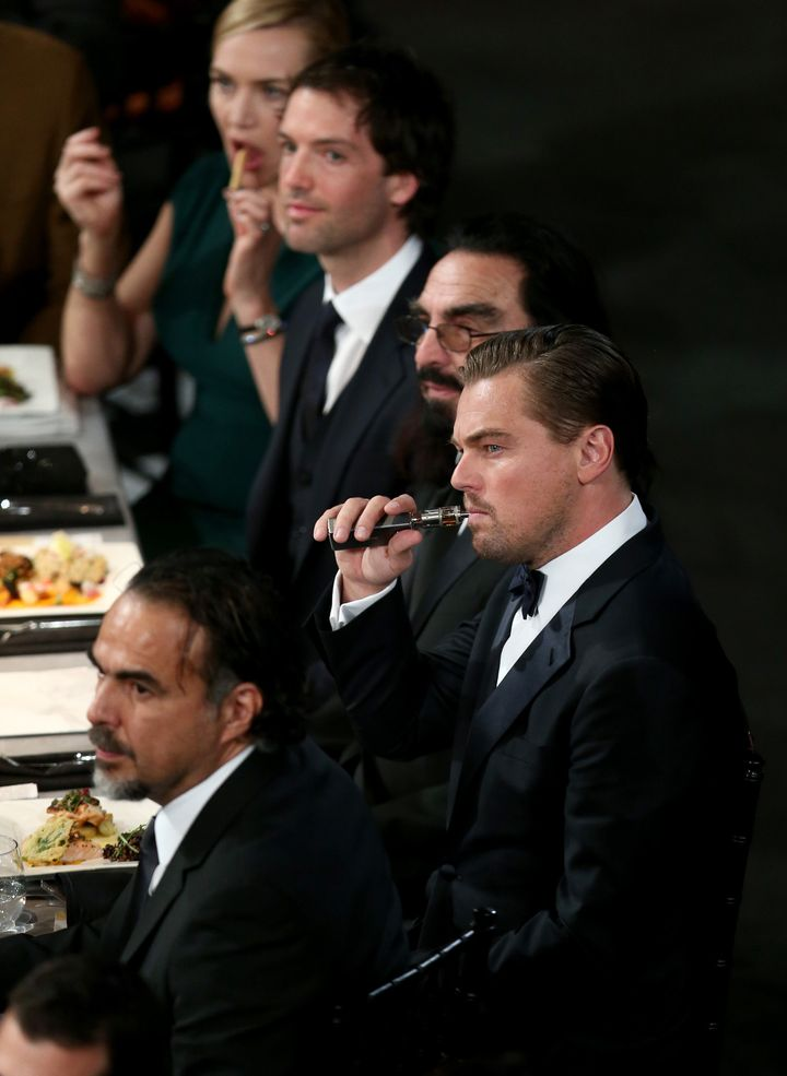Leonardo DiCaprio is all of us at the 22nd annual Screen Actors Guild Awards on Jan. 30, 2016, in Los Angeles, California.