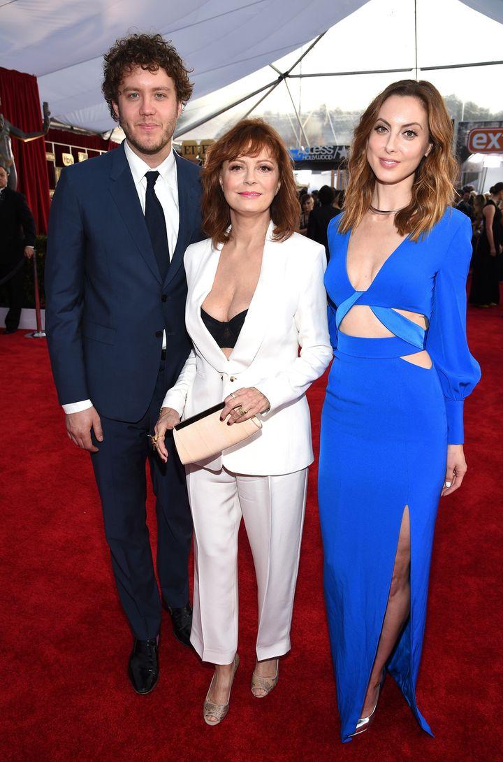 Susan Sarandon with her children Jack Robbins and Eva Amurri at the SAG Awards on Jan. 30, 2016.