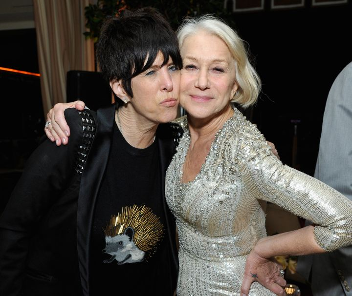 Diane Warren and Helen Mirren enjoy each other's company at the Weinstein-Netflix after-party.
