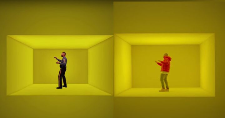 "A University of Delaware police officer, left, mimics Drake's dance moves, right, in their ""Hotline Bling"" parody, ""Copline B"