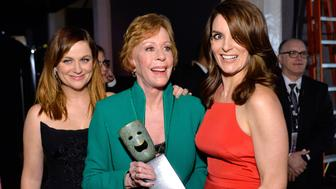 LOS ANGELES, CA - JANUARY 30:  (L-R) Actress Amy Poehler, Life Achievement Award recipient Carol Burnett and actress Tina Fey attend  The 22nd Annual Screen Actors Guild Awards at The Shrine Auditorium on January 30, 2016 in Los Angeles, California. 25650_016  (Photo by Stefanie Keenan/Getty Images for Turner)