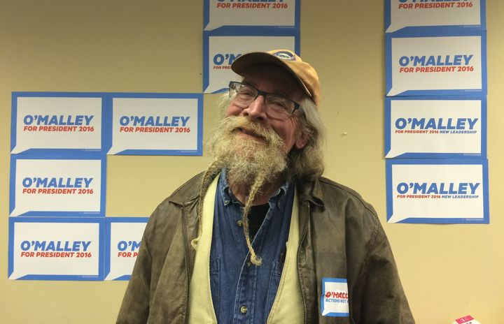 Ben Zacirij, a board member on a peace PAC, is all for Martin O'Malley for president. His wife spiffied up his beard with som