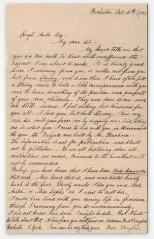 Frederick Douglass wrote this letter addressed to his slave master, Hugh Auld, in 1857.