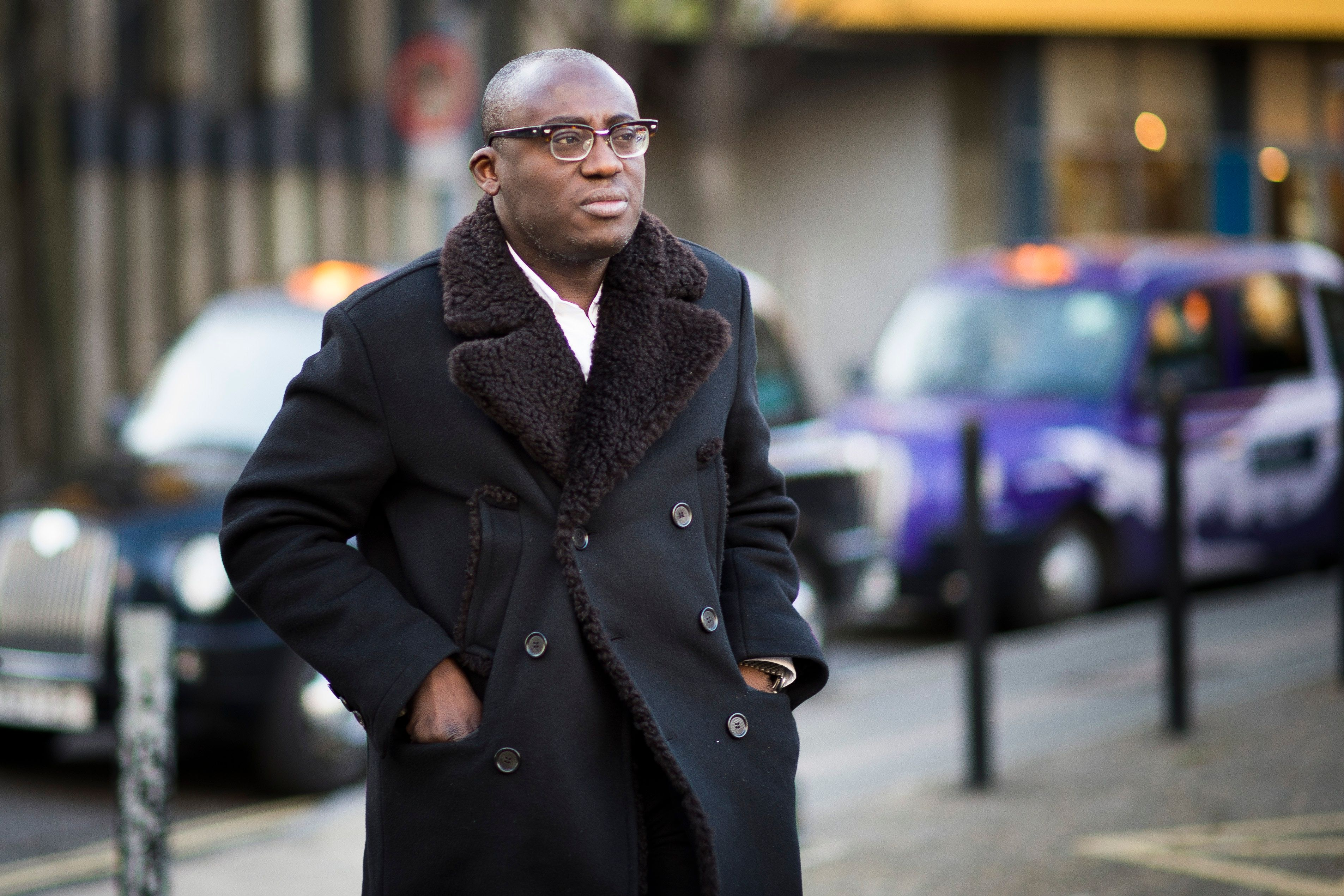LONDON, ENGLAND - FEBRUARY 23: Edward Enninful during London Fashion Week Fall/Winter 2015/16 at  on February 23, 2015 in London, England.  (Photo by Timur Emek/Getty Images)