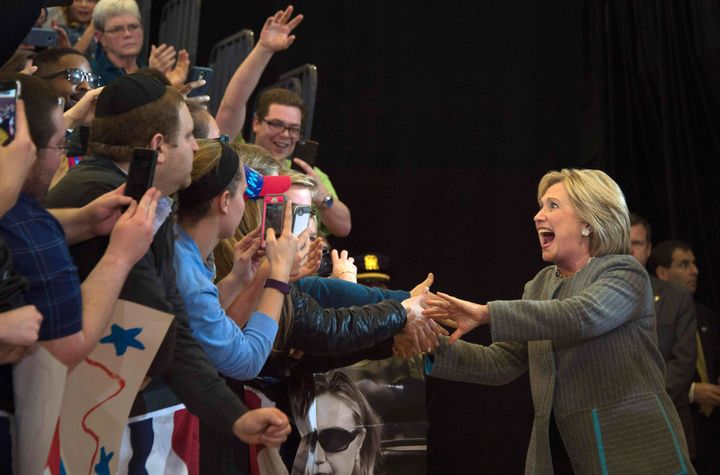 Hillary Clinton at a rally in Des Moines