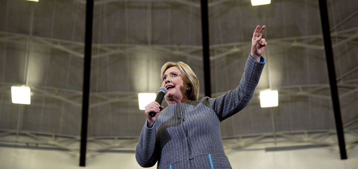 Former Secretary of State Hillary Clinton speaks on Sunday at a campaign event atAbraham Lincoln High School in Des Moi