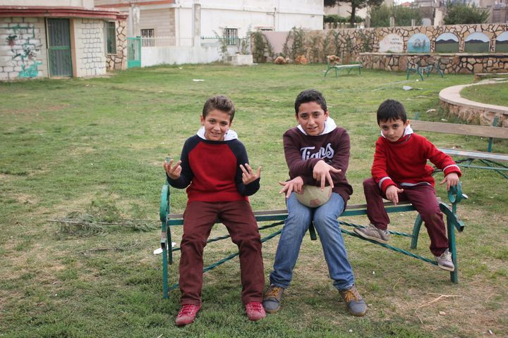 """Abdulrahman, Samir and Mohamed are the stars of """"Straight Outta Syria,"""" a video from children's charity Theirworld that highl"""