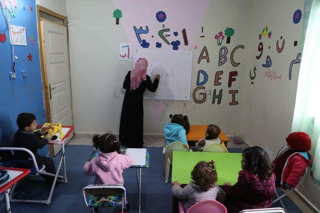 Children attend a nursery school for refugee children in Hatay, Turkey. Last December, the UN appealed...