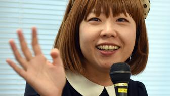 Japanese artist Megumi Igarashi gestures as she answers questions during a press conference following her final hearing before the verdict in Tokyo on February 1, 2016.  Igarashi is charged with obscenity for distributing plans of how to build a kayak shaped like her vagina scoffed at prosecutors' demand to punish her with a 6,600 USD fine.    AFP PHOTO / Toru YAMANAKA / AFP / TORU YAMANAKA        (Photo credit should read TORU YAMANAKA/AFP/Getty Images)