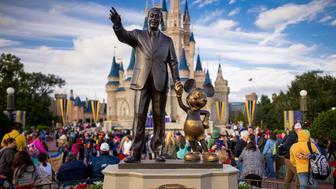 [UNVERIFIED CONTENT] Walt Disney and Mickey Mouse, the Partners statue in the central Hub of the Magic Kingdom, Walt Disney World, Florida