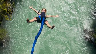 bungee jumping in whistler above the cheakamus river, british columbia, Canada.