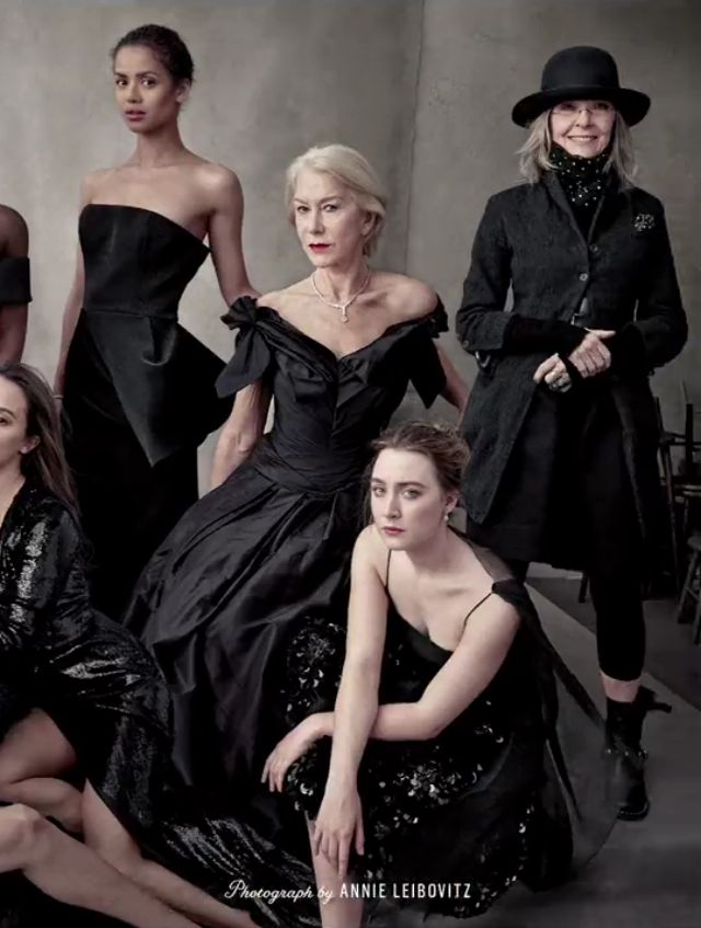 Gugu Mbatha-Raw, Helen Mirren, Saoirse Ronan and Diane Keatonon Vanity Fair's 2016 Hollywood issue.