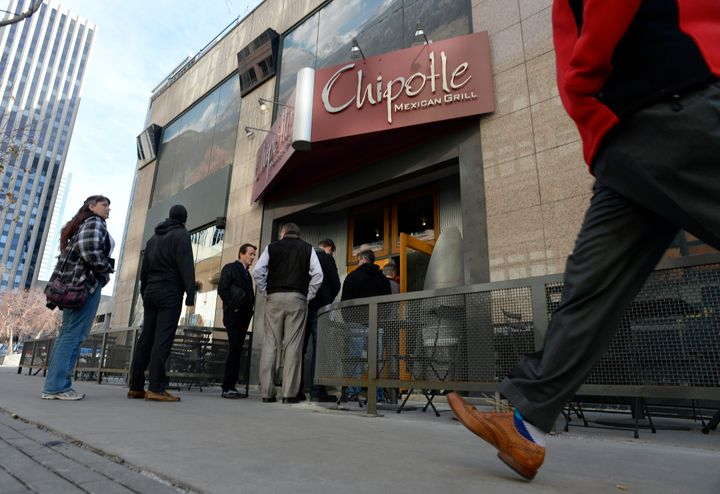 Patrons of the Chipotle restaurant at 1600 California line up for lunch Jan. 6, 2015. The chain is closing all its restaurant