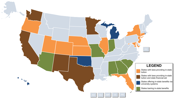 Georgia is among the six U.S. states (colored green) that denies in-state tuition benefits to undocumented students.