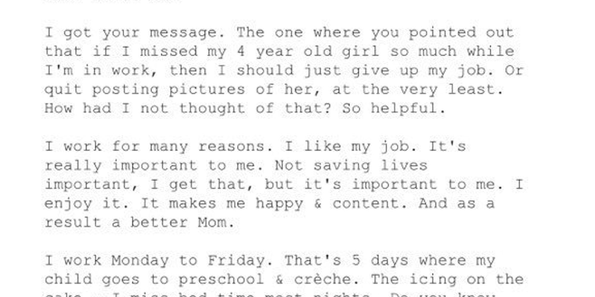 working mom shuts down troll who suggests she should quit her job working mom shuts down troll who suggests she should quit her job the huffington post