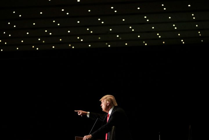 Republican presidential candidate Donald Trump speaks during a campaign event at the U.S. Cellular Convention Centeron