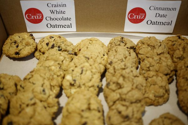 Home-made cookies baked by a volunteer are displayed at a campaign event for Sen. Ted Cruz, a Republican from Texas and 2016