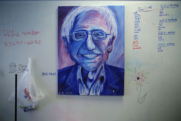 A portrait of Democratic presidential candidate Sen. Bernie Sanders (I-VT) is seen at his campaign headquarters February 1, 2