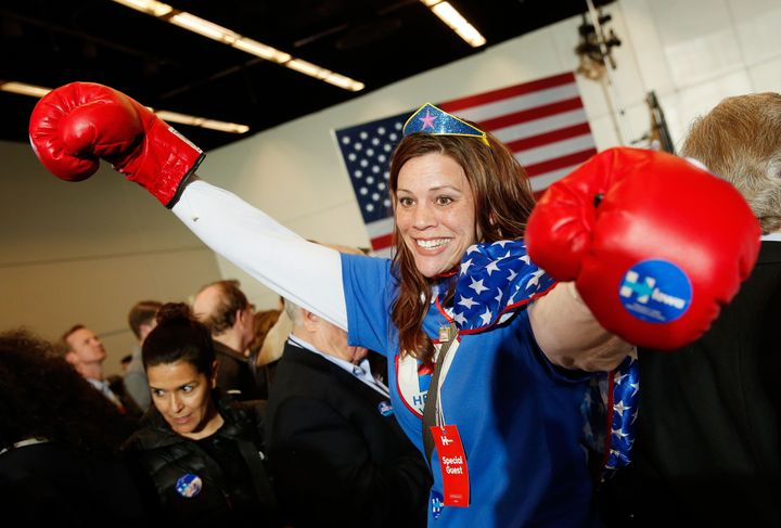 Kim Frederick of Houston, Texas arrives for the caucus night event of Democratic presidential candidate former Secretary of S