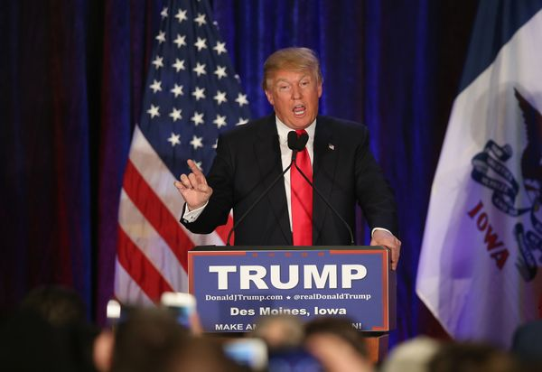 Republican presidential candidate Donald Trump speaks at his Iowa Caucus night gathering Feb. 1, 2016 in Des Moines, Iowa. Se