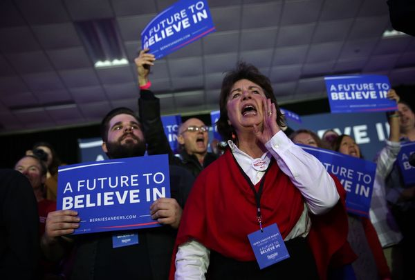 Supporters cheer during Democratic presidential candidate Sen. Bernie Sanders' (I-VT) caucus night party Feb. 1, 2016 in Des
